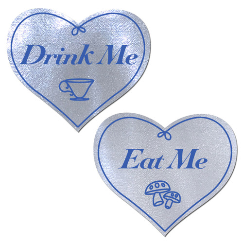 Eat Me Drink Me on White Liquid Heart Nipple Pasties by Pastease® o/s