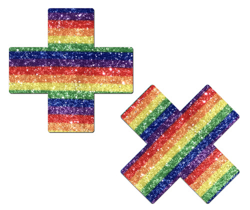 Plus X: Glittering Rainbow Cross Nipple Pasties by Pastease® o/s