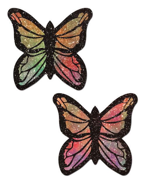 Monarch: Glitter Pastel Rainbow Butterfly Nipple Pasties by Pastease® o/s
