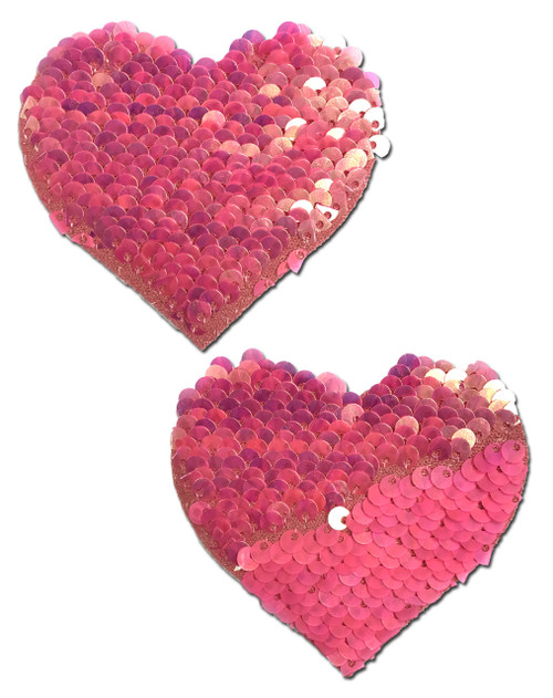 Sweety: Hot Pink & Matte Pink Color Changing Sequin Heart Nipple Pasties by Pastease® o/s
