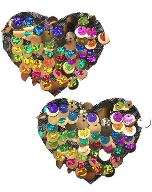 Sweety: Multi-Color Party Sequin Heart Nipple Pasties by Pastease® o/s