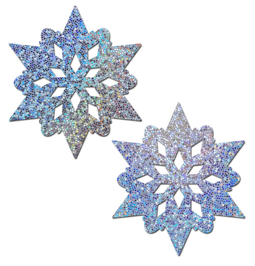 Silver Glitter Snowflakes Nipple Pasties by Pastease® o/s