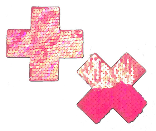 Plus X: Hot Pink & Matte Pink Flip Sequin Cross Nipple Pasties by Pastease® o/s