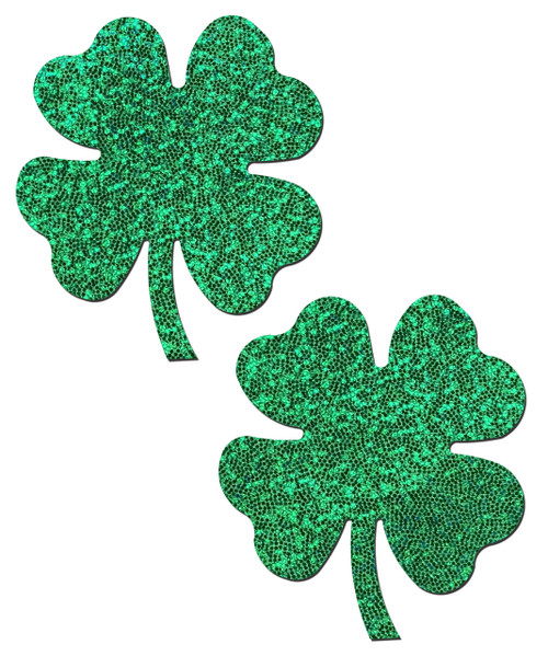 Shamrock: Lucky Green Glittering Four Leaf Clover Nipple Pasties by Pastease® o/s