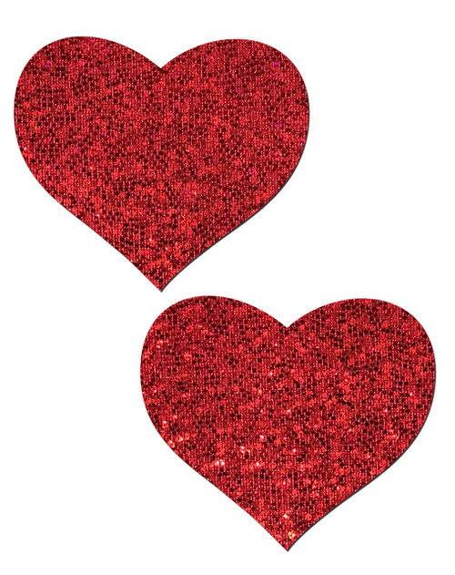 Sweety: Red Glitter Heart Nipple Pasties by Pastease® o/s
