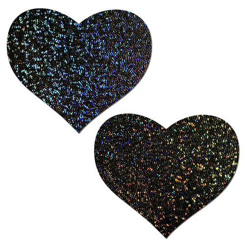 Sweety: Black Glitter Heart Nipple Pasties by Pastease® o/s