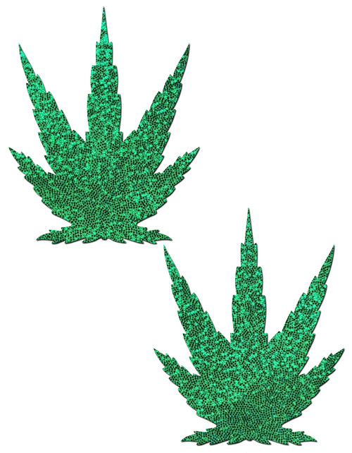 Leaf: Glittering Green Pot Leaves Nipple Pasties by Pastease® o/s