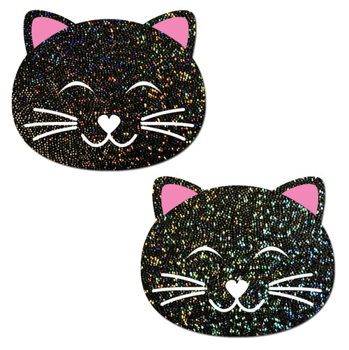 Kitty Cat: Happy Black Glitter Kitty Cat Nipple Pasties by Pastease® o/s