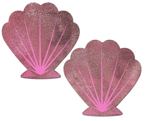 Mermaid: Liquid Baby Pink & Pink Print Seashell Nipple Pasties by Pastease® o/s