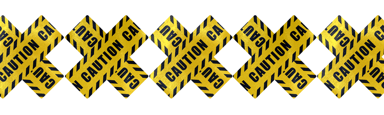 caution tape nipple pasties by pastease
