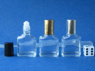 Mini Roll-on Glass Perfume Oval Cross-Sect Bottles - 1/3oz (10mL)