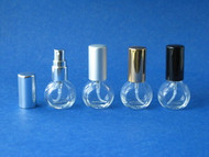 Mini Flat Round Glass Atomizers w/Screw-on Sprayers - 1/6oz (5mL)