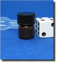 Amber Glass Vial w/Threaded Cap 1/4 Dram