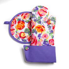 Grandway Oven Mitt + Hot Pad Pot holders Violet PURPLE ROSES flower gift -