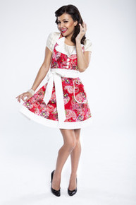 GRANDWAY CLOTH APRON AUDREY RED PAISLEY WITH WHITE TIES FUN GIFT