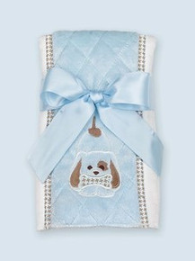 Bearington Baby WAGGLES PUPPY DOG Burp Cloth Blue