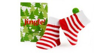 Trumpette 2 pairs Baby Jingle Christmas Striped Socks with Green Pom Pom 0-12 months