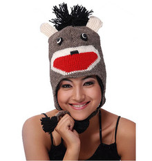 BROWN MONKEY Winter Ski Hat Cap ADULT Warm Cute Animal Face Hat by Collection Royal