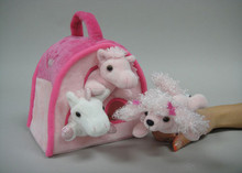 Unipak Plush PINK ANIMAL HOUSE & 3 FINGER PUPPETS