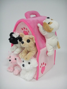 "Unipak 12"" PINK DOG HOUSE Plush Stuffed toy"