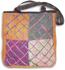 Earth Divas - HEMP & RECYCLED SILK SHOULDER BAG