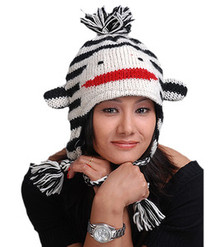 Animal Face Hat White Black STRIPED MONKEY Beanie Winter Ski Cap ADULT Gift