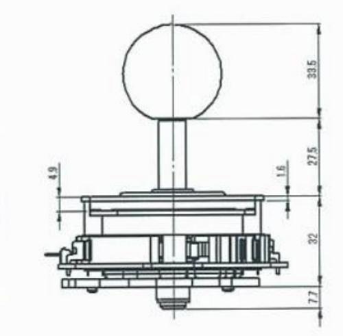 Seimitsu LS-32-02 Joystick With Flat Mounting Plate
