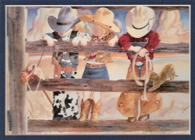 ART-LL-00003  Western Little Cowboy and Cowgirl Children Print