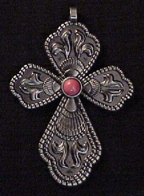 CROSS PENDANT RED CORAL