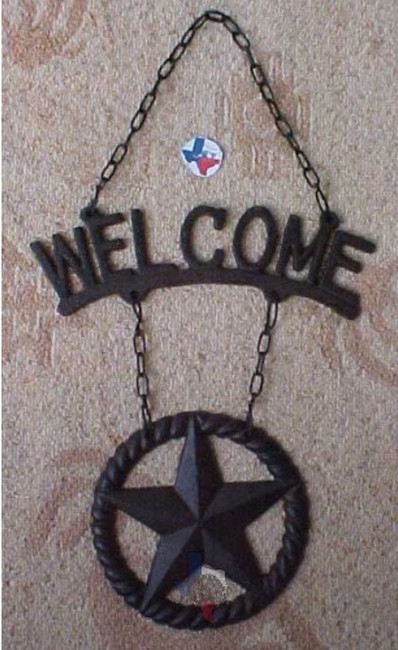 Western Welcome Wall Plaque with Star on Chain