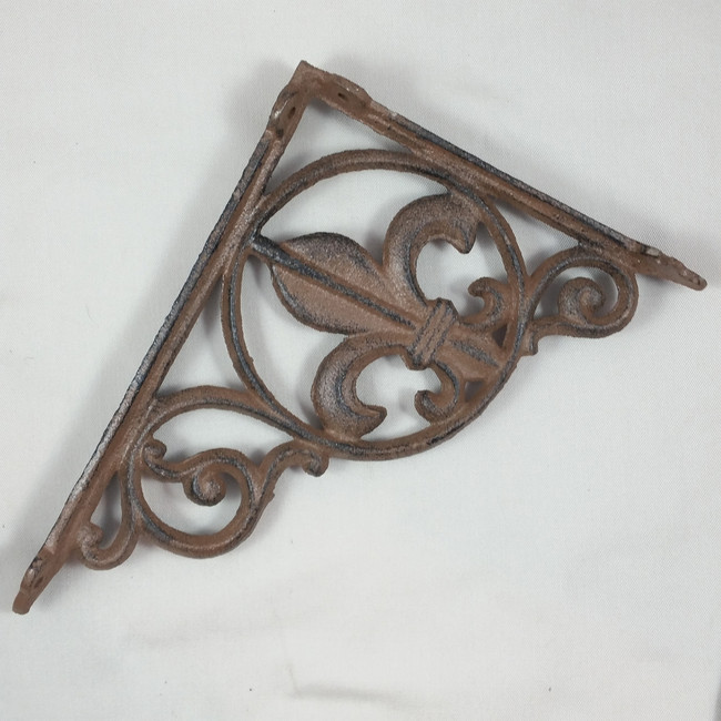Decorative Fleur de Lis Cast Iron Corner Bracket Shelf Bracket