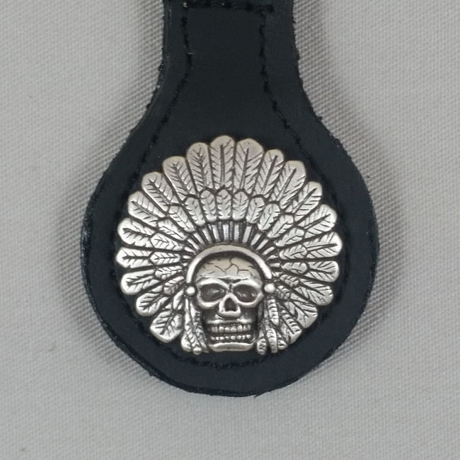 Motorcycle Biker Key Fob Indian Cheif Headdress & Skull Black Leather