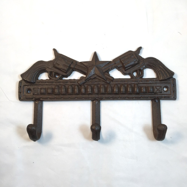 RUSTIC WESTERN CAST IRON CROSSED PISTOL HAT COAT HOOK