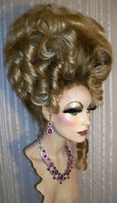 Drag Queen Wig Big Dark Ash Blonde Roots Golden Tips Up Do French Twist Curls
