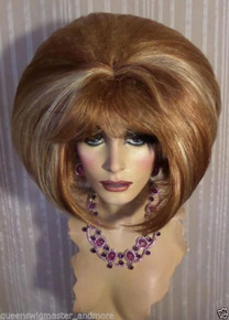 """Drag Queen Wig """"New""""  Two Tone Blonde Teased Out Bob With Bangs"""