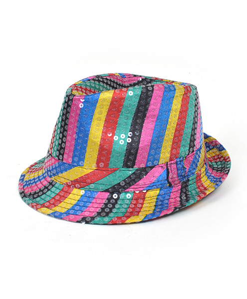 6pc Sequin Fedora Hat H5627