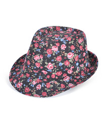 6pc Ladies Fedora Hats Flower Black
