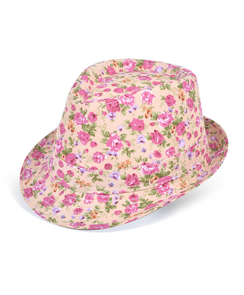 6pc Ladies Fedora Hats Flower Pink