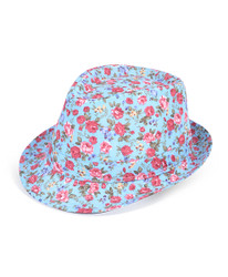 6pc Ladies Fedora Hats Flower Blue