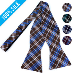 Formal Plaid Silk Woven Freestyle Bow Tie - FBS4705