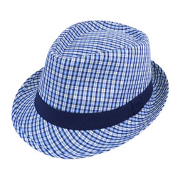 6pc Men's Blue Poly Checkered Fedora Hats by Westend