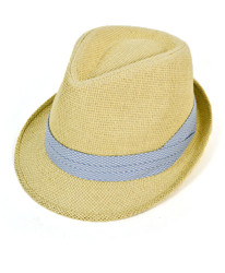 6pc Men's Natural Paper/Poly Checkered Light Blue Band Fedora Hats by Westend