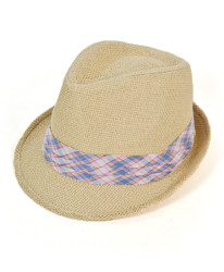 Stock level at 100%	6pc Men's Natural Paper/Poly Plaid Light Blue Band Fedora Hats by Westend