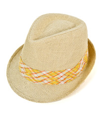 6pc Men's Natural Paper/Poly Plaid Yellow Band Fedora Hats by Westend