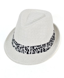 6pc Men's White Paper/Poly Leopard Band Fedora Hats by Westend