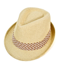 6pc Men's Natural Paper/Poly Checkered Brown Band Fedora Hats by Westend