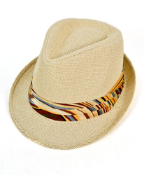 6pc Men's Natural Paper/Poly Art-deoc Yellow Band Fedora Hats by Westend