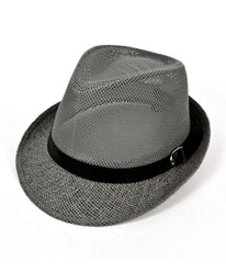 Gray Poly Black Band Fedora Hats by Westend - H9554