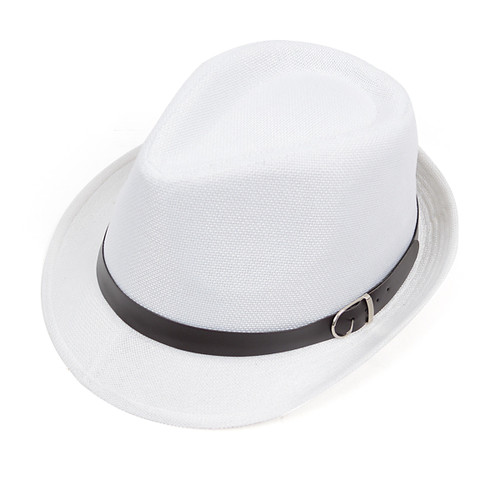 6pcs Two Sizes White Fedora Hats with Leather Trim H9564