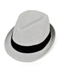 White Poly Black Wide Band Fedora Hats by Westend - H9565